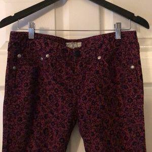 Free people floral corduroy jeans